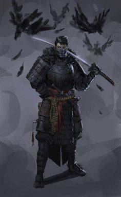 Dungeons & Dragons: Samurai, a Fighter archetype (inspirational) Fantasy Warrior, Fantasy Samurai, Samurai Concept, Ninja Rpg, Art Ninja, Fantasy Kunst, Dark Fantasy Art, Fantasy Artwork, Fantasy Character Design