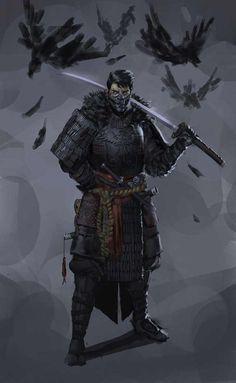 Dungeons & Dragons: Samurai, a Fighter archetype (inspirational) Fantasy Warrior, Fantasy Samurai, Samurai Concept, Ninja Kunst, Arte Ninja, Fantasy Character Design, Character Design Inspiration, Character Art, Ronin Samurai