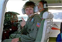 Vicki Van Meter, known for setting 'youngest pilot' distance records. Died from self inflicted gunshot wound in 2008 at age of 26.