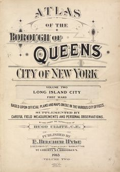 Atlas of the borough of Queens city of New York Vol. 2, Long Island City first ward. [Title Page] (1908 updated to 1913)