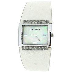Giordano Damenuhr, Permuttzifferblatt, steinbesetzte Lünette, PU-Uhrband 2199 - http://uhr.haus/giordano/giordano-damenuhr-permuttzifferblatt-luenette