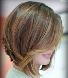 Love the color!! Angled Layered Bob With Caramel Highlights!