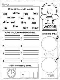 (FREEBIE) CVCe Word Family Printables Long vowels (phonics) long i words