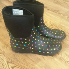 Rain/Snow Boots Black Ditsy Dot -Multi Style Boots, like new condition,  worn 1 time Western Chief  Shoes Winter & Rain Boots