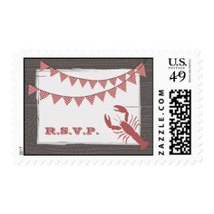 Rustic Lobster & Gingham Bunting R.S.V.P. Postage