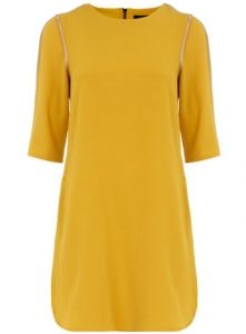 yellow tunic dress: with green j crew necklace for Baylor games!