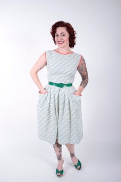 Vintage 1950s Dress Green Print Cotton 1950s by stutterinmama, $74.00