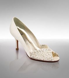 """Stuart Weitzman Chantelle pump with ivory Chantilly lace and 2 3/4"""" heel. Should be very comfortable."""