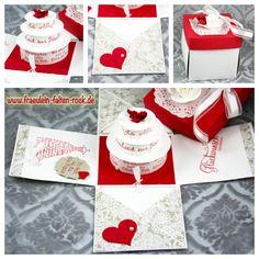 Explosionsbox zur Hochzeit  #stampinup, #hochzeit, #torte, #heiraten, #wedding, #glutrot, #hochzeitskleid, #herz, #fürdich