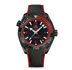 Omega Seamaster Planet Ocean Deep Black in black cermic and red rubber