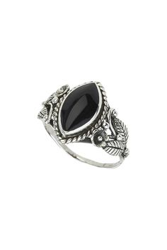 Sterling Silver Black Oval Ring - Topshop