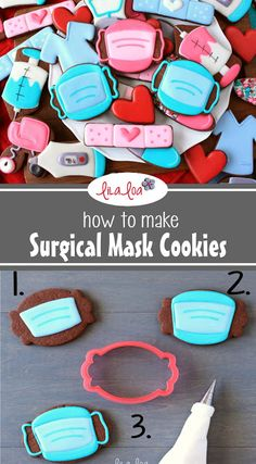 Use this cookie decorating tutorial to learn how to make cute and easy surgical face mask sugar cookies. Nurse Cookies, Iced Cookies, Cut Out Cookies, Royal Icing Cookies, Baby Cookies, Flower Cookies, Easter Cookies, Cookie Bouquet, Heart Cookies