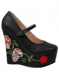 "Women's ""Calavera"" Closed Toe Wedge by Bettie Page™ Shoes (Black) #InkedShop #InkedMag #Calavera #Closed #Toe #Wedge #Black"