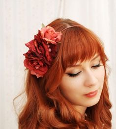 Romantic wedding hair flowers    I love her bangs