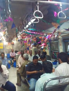 Most of Mumbai railway suburban local trains r decked up for Dussehra by commuters & workshop staff