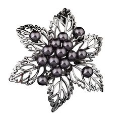 Clustered Black Pearl Silver Brooch