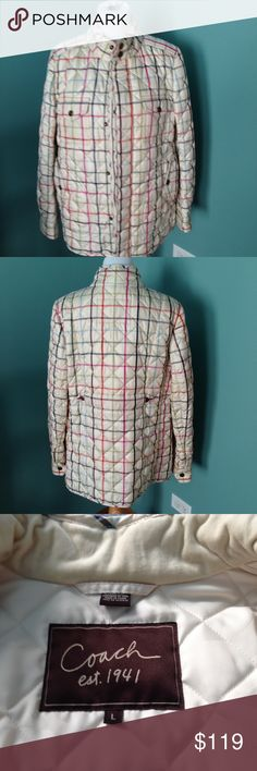 """Coach plaid coat NWOT Polyester plaid pattern, quilted, snap front button with faux brass button, 2 front & 2 side pockets, single snap cuff. Shoulder 17"""" sleeve 25"""" length 29"""". Never worn. Low ball offers will be ignored. Coach Jackets & Coats Pea Coats"""