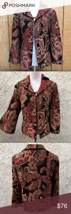 """🆕 Bell Sleeve Blazer ⛄️ Bell sleeve blazer is made of colorful reds, greens & black tapestry material. Nice and warm. As shown in fourth photo the blazer has two front clasps, 2.5"""" side slit on both sides, 9.5"""" wide bell sleeves & a textured tapestry material. Measurements are 21.75"""" pit to pit & 23"""" long. Content is 80% Rayon & 20% Polyester. Blazer is lined with a black 100% Polyester. In excellent like new condition with NO spots or damage. Harve Benard Jackets & Coats Blazers"""