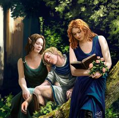 Elves Reading In The Forest by Entar0178  Repinned by Ellery Adams www.elleryadamsmysteries.com