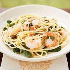 Lemon Basil Shrimp and Pasta - Superfast Mediterranean Recipes - Cooking Light Seafood Dishes, Pasta Dishes, Seafood Recipes, Pasta Recipes, Cooking Recipes, Healthy Recipes, Delicious Recipes, Recipe Pasta, Spaghetti Recipes