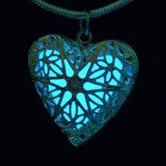 """""""Glow necklace True Blue Heart Glow Silver Filigree Heart Locket Pendant"""""""