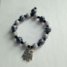 "Owl Bracelet 6"" stretchy & durable beaded handmade owl bracelet Boho Chic Boutique Jewelry Bracelets"