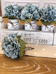 Life is so good! This centerpiece set is guaranteed to make you smile. It has a laid back beachy vibe that will fit perfectly with your coastal or farmhouse decor. Everything is handmade and high quality, from start to finish. The box is cut from pine by us and then lovingly