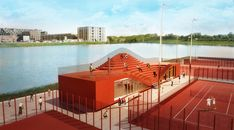 Article source: MVRDV Tennisclub IJburg and MVRDV announce that permission has been granted to start construction of The Couch, a new club house for the young tennis club, which was founded in 2010 on a new artificial island in the east of . Facade Architecture, Landscape Architecture, Landscape Design, Casas Club, Amsterdam Houses, Tennis Clubs, Planning Permission, Urban Design, Design Art