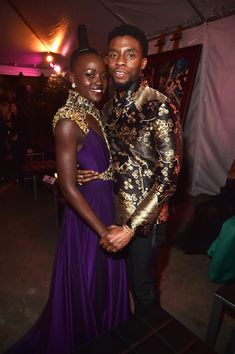 Chadwick Boseman Lupita Nyong'o Photos - Actors Lupita Nyong'o (L) and Chadwick Boseman at the Los Angeles World Premiere of Marvel Studios' BLACK PANTHER at Dolby Theatre on January 29, 2018 in Hollywood, California. - The Los Angeles World Premiere of Marvel Studios' 'Black Panther'