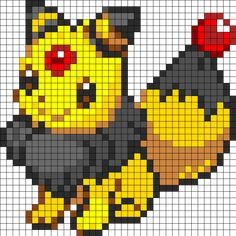 Eevee And Ampharos Fusion Perler Bead Pattern / Bead Sprite