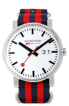 Mondaine '(Evo)lution' Canvas Strap Watch, 40mm