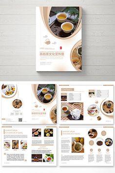 Classical atmospheric tea culture brochure#pikbest#templates Recipe Book Design, Cookbook Design, Food Menu Design, Graphic Design Brochure, Brochure Layout, Magazine Layout Design, Book Design Layout, Design Design, Menu Book