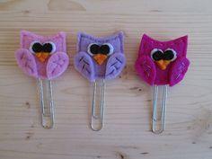 3 Planner clips - Owl paper clips - Felt bookmarks - Set di 3 clip / graffette con Gufi in feltro 3 di TinyFeltHeart
