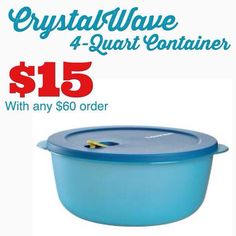 Crystalwave 4 Quart Container http://tinaevans.my.tupperware.com/