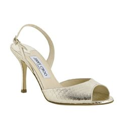 Jimmy Choo Laser Metallic Snakeskin Slingbacks Sandals Gold,and pay for 134$