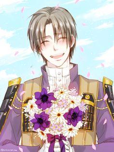 【花束貰って嬉しそうに照れる長谷部】