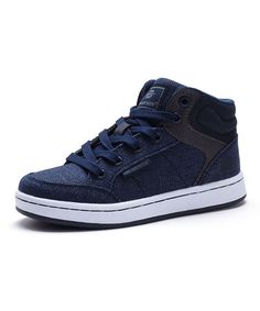 Look what I found on Navy Faux Leather-Accent Sneaker - Boys Kids Sneakers, High Top Sneakers, Classic Sneakers, Kid Shoes, Neutral Colors, Cute Outfits, Lace Up, Navy, Boys