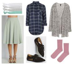 Pale green skirt, plaid shirt, grey cardigan, pink socks, black shoes