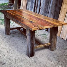 A rustic yet classic design trestle dining table. This table is made entirely of authentic reclaimed barnwood I have salvaged by hand from ranches