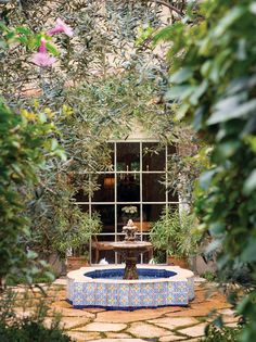 Twilley added a Moroccan fountain and mature olive trees to the patio.