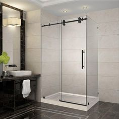 Aston Langham 48 in. x 35 in. x 77.5 in. Completely Frameless Sliding Shower Enclosure in Oil Rubbed Bronze with Right Base