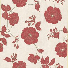 Decorate your room in roses with this gorgeous floral wallpaper that's a lovely mix of both vintage and modern - 62-65845 Red Outline Rose - Madelaine - Kenneth James Wallpaper #marsala #coloroftheyear #decorating