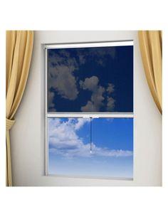 Detta insektsnät med rullgardinsfunktion till fönster har en stark aluminiumram och nät i glasfiber. Insekterna