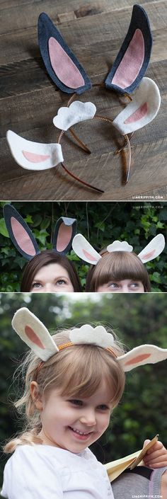 Grab some felt, turn on your ScanNCut and Brother sewing machine (or get some fabric glue), and make these egg-cellent bunny ear headbands for Easter! Felt Diy, Felt Crafts, Easter Crafts, Diy Crafts, Diy Costumes, Halloween Costumes, Diy Sheep Costume, Bunny Costume Kids, Lamb Costume