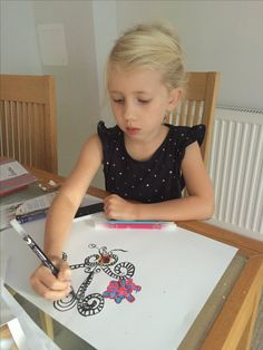 Liliana using her new calligraphy pens