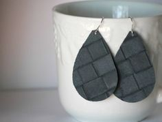 Charcoal Grey Basketweave Lambskin Leather Teardrop Earrings by BaublesbyB
