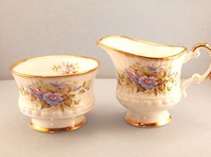 Vintage  Elizabethan Fine Bone China Sugar Bowl and Creamer Set with Blue Flowers and Gold Trim - England  by HouseofLucien