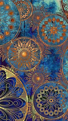 This is so beautiful.  The background variation of shades of blue and then the variations in gold tones, too.  Love it!