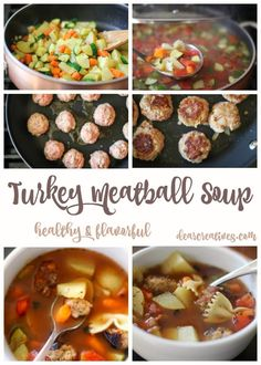 Turkey Meatball Soup is an easy recipe. Packed with fresh vegetables, pasta noodles and turkey meatballs. Warm up with this flavorful, hearty, healthy soup. Simple Noodle Soup Recipe, Easy Soup Recipes, Quick Dinner Recipes, Turkey Recipes, Healthy Recipes, Turkey Meatball Soup, Turkey Soup, Turkey Meatballs, Vegetable Soup With Chicken