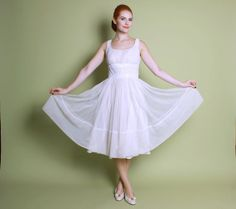 60s White Chiffon WEDDING DRESS / Iridescent by LuckyDryGoods, $265.00